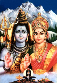 Shiva and Parvati by the Ganges - Foam Backed