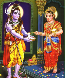 Food Blessings- Parvati Feeding Shiva - Foam Backed