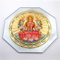Gold Plated Lakshmi Mirror - Greeting Card