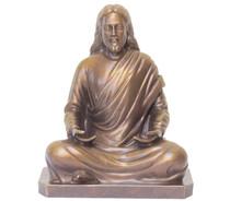 """Statue - Jesus Meditating - Golden Bronze 8"""""""