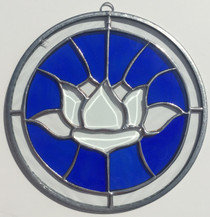 """Blue Stained Glass Beveled Lotus - 11"""""""