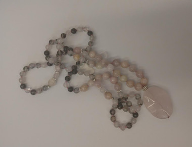 Tourmalated Quartz, Pink Kunzite, Rose Quartz Mala