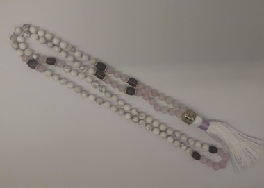 Howlite, Rose Quartz, & Purple Lepidolite Mala