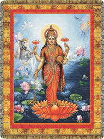 Lakshmi on Orange Lotus Tapestry Throw