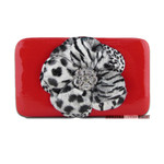 RED LEOPARD FLOWER DISTRESSED LOOK FLAT THICK WALLET FW2-0751RED