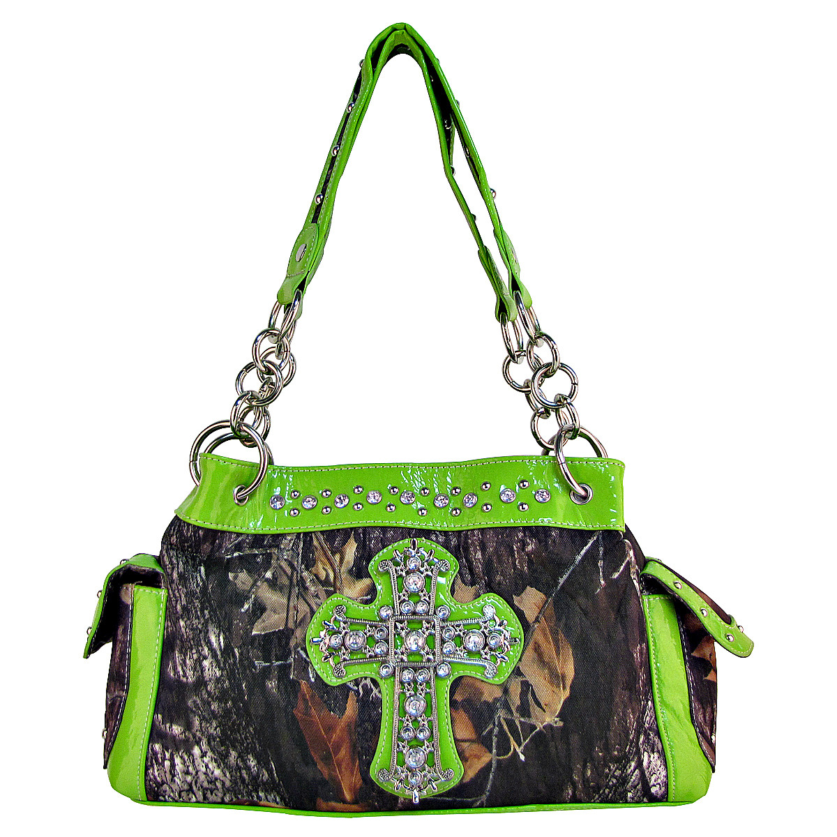 GREEN RHINESTONE MOSSY CAMO LOOK CROSS SHOULDER HANDBAG HB1-C-321-2GRN