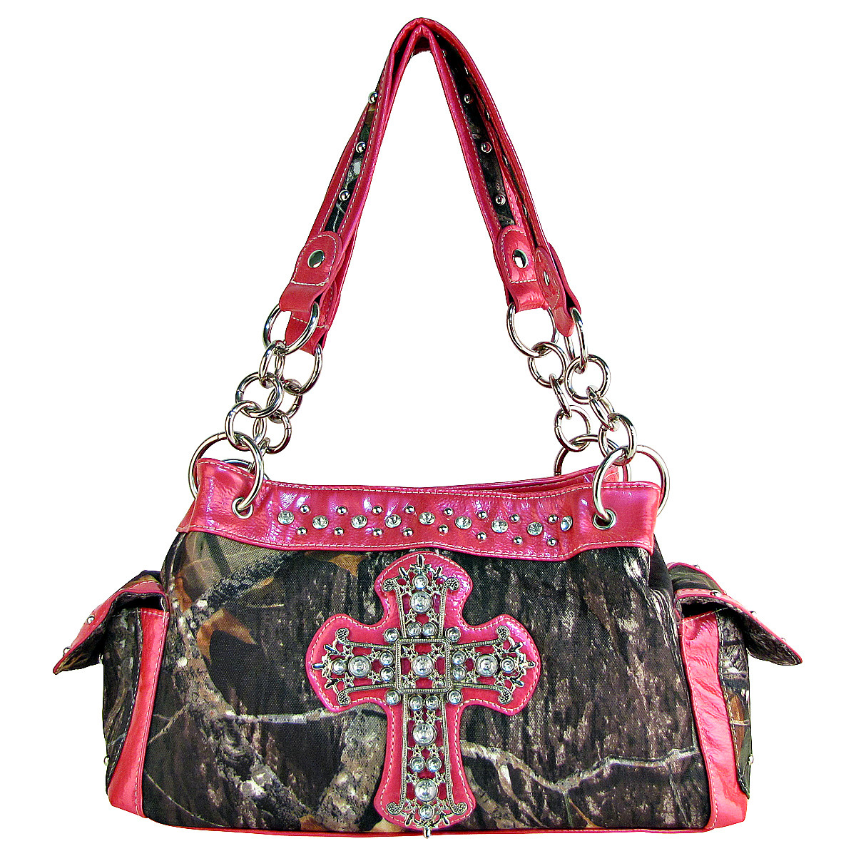 HOT PINK RHINESTONE MOSSY CAMO LOOK CROSS SHOULDER HANDBAG HB1-C-321-2HPK