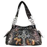 BLACK RHINESTONE MOSSY CAMO LOOK CROSS SHOULDER HANDBAG HB1-C-321-2BLK