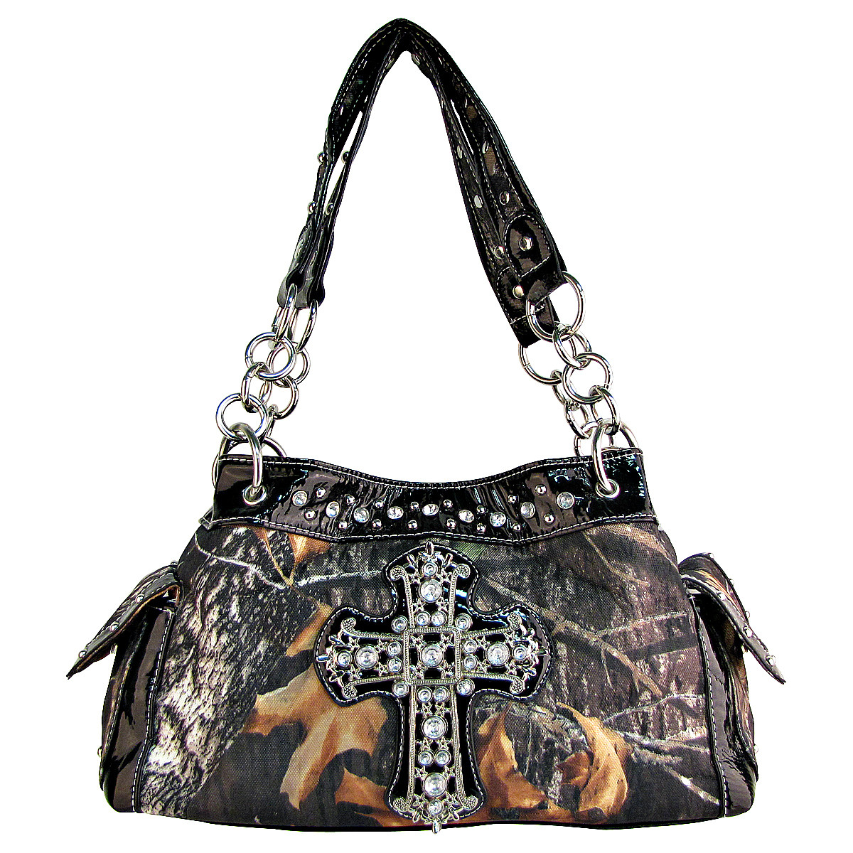 BLACK RHINESTONE MOSSY CAMO LOOK CROSS SHOULDER HANDBAG BLACK RHINESTONE MOSSY CAMO LOOK CROSS SHOULDER HANDBAG HB1-C-321-2BLK