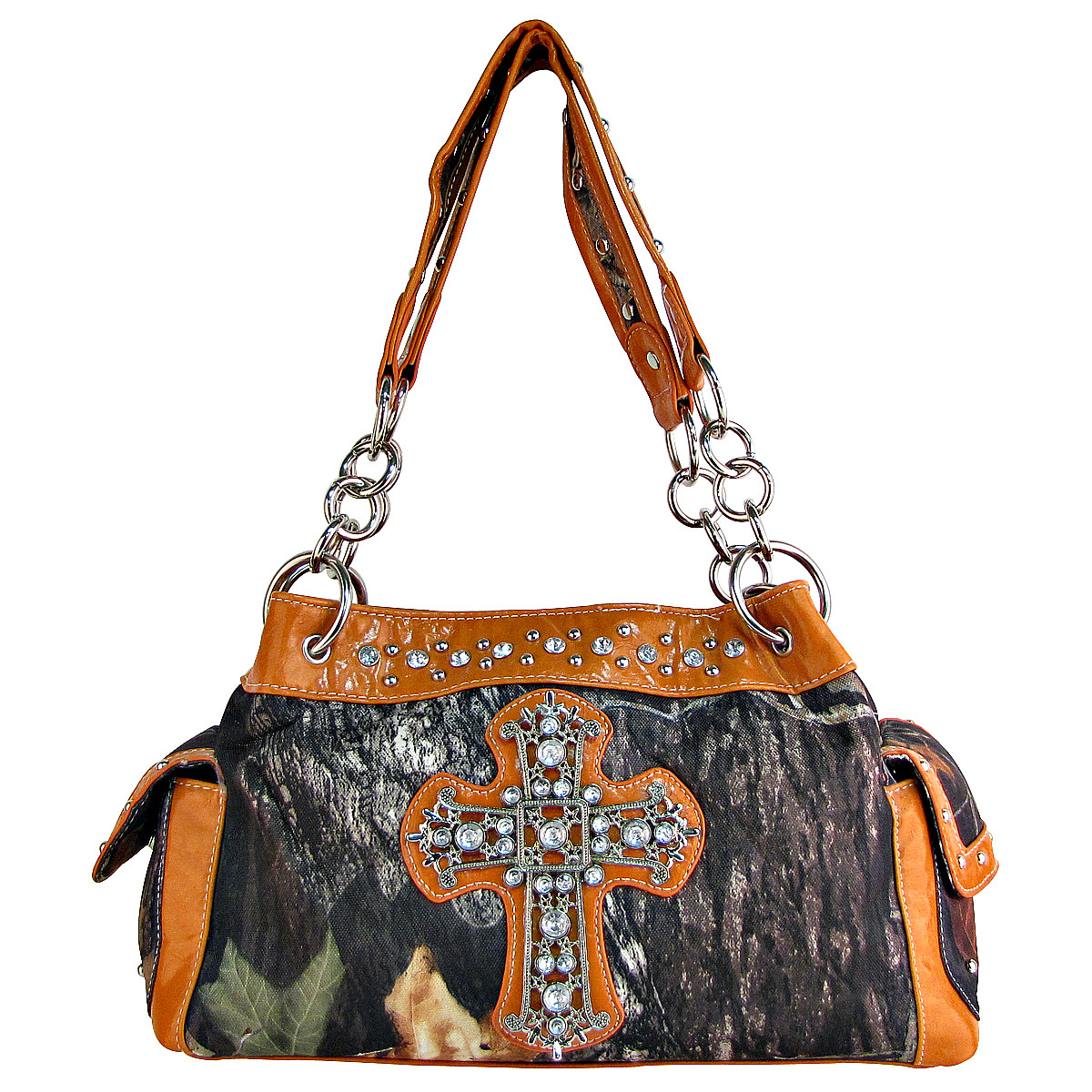 ORANGE RHINESTONE MOSSY CAMO LOOK CROSS SHOULDER HANDBAG HB1-C-321-2ORG