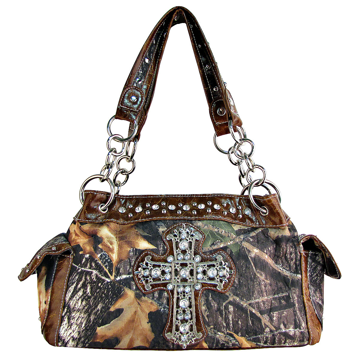 BROWN RHINESTONE MOSSY CAMO LOOK CROSS SHOULDER HANDBAG HB1-C-321-2BRN