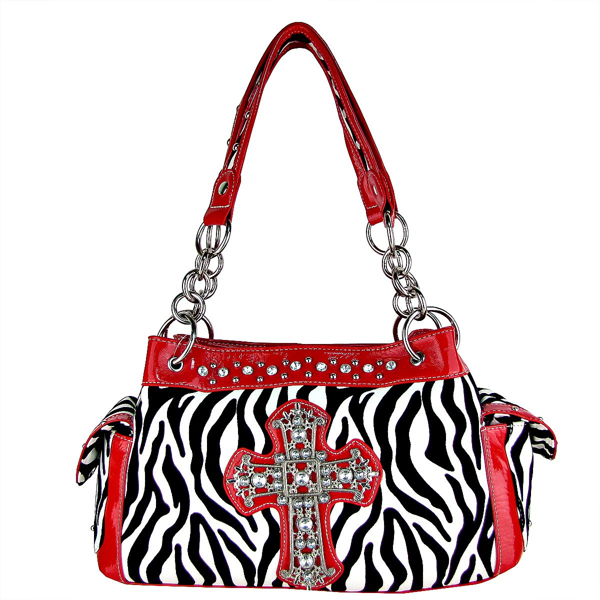 RED ZEBRA PRINT CROSS SHOULDER HANDBAG HB1-98001RED
