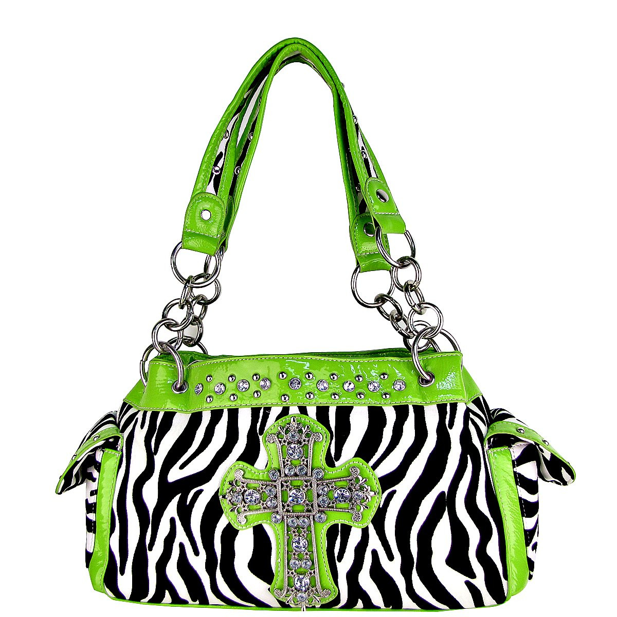 GREEN ZEBRA PRINT CROSS SHOULDER HANDBAG HB1-98001GRN
