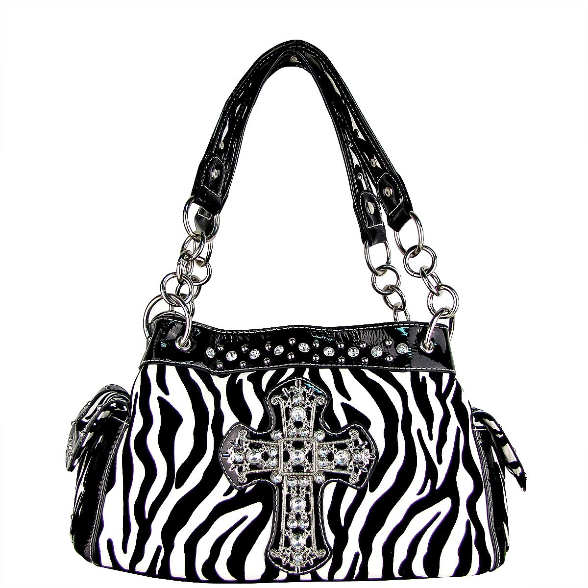 BLACK ZEBRA PRINT CROSS SHOULDER HANDBAG HB1-98001BLK