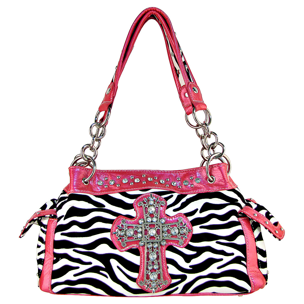 HOT PINK ZEBRA PRINT CROSS SHOULDER HANDBAG HB1-98001HPK