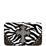 BROWN ZEBRA PRINT CROSS FLAT THICK WALLET FW2-0431BRN