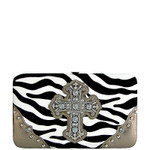 GRAY ZEBRA PRINT CROSS FLAT THICK WALLET FW2-0431GRY