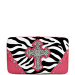 HOT PINK ZEBRA PRINT CROSS FLAT THICK WALLET FW2-0431HPK