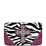 PURPLE ZEBRA PRINT CROSS FLAT THICK WALLET FW2-0431PPL