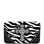 BLACK ZEBRA PRINT CROSS FLAT THICK WALLET FW2-0431BLK