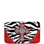 RED ZEBRA PRINT CROSS FLAT THICK WALLET FW2-0431RED