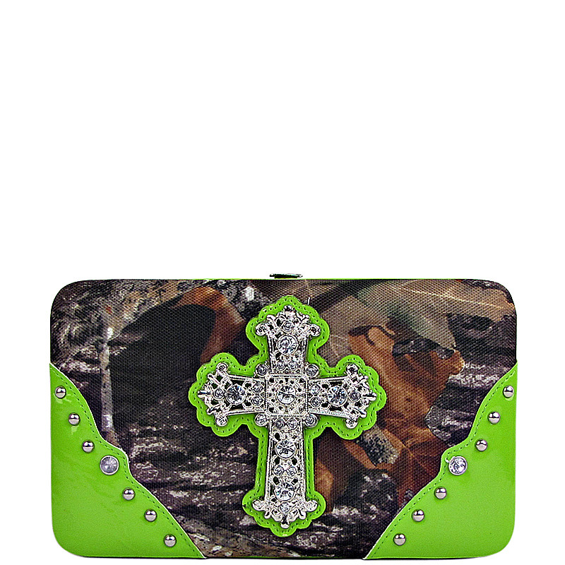 GREEN CROSS MOSSY CAMO LOOK FLAT THICK WALLET FW2-0421GRN