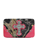 HOT PINK CROSS MOSSY CAMO LOOK FLAT THICK WALLET FW2-0421HPK