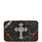 BROWN CROSS MOSSY CAMO LOOK FLAT THICK WALLET FW2-0421BRN
