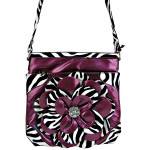 PURPLE ZEBRA FLOWER DISTRESSED LOOK MESSENGER BAG MB1-YJ2016-4PPL