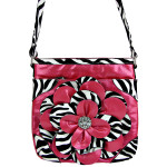 HOT PINK ZEBRA FLOWER DISTRESSED LOOK MESSENGER BAG MB1-YJ2016-4HPK