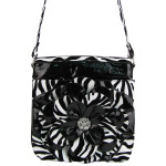 BLACK ZEBRA FLOWER DISTRESSED LOOK MESSENGER BAG MB1-YJ2016-4BLK