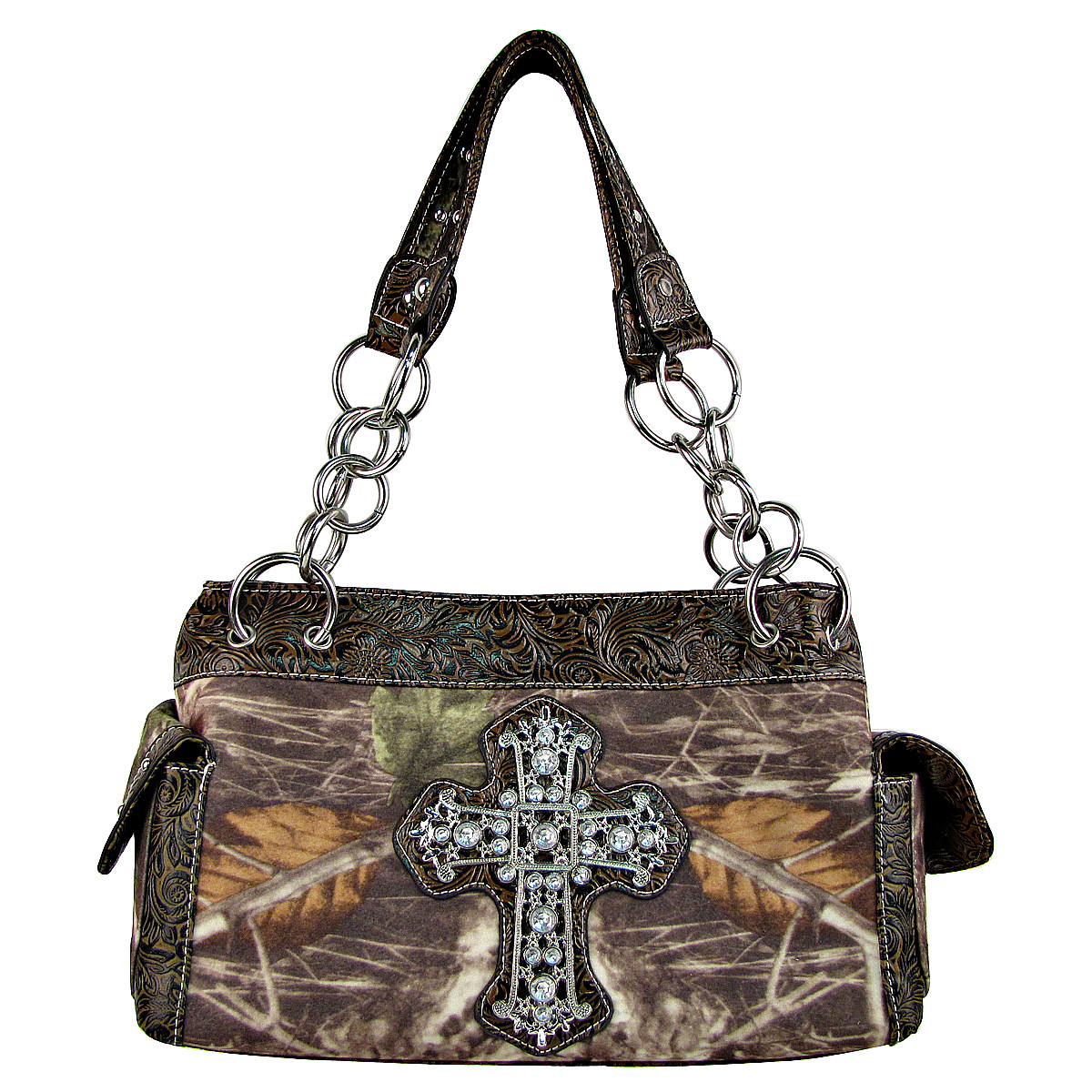 BROWN TOOLED MOSSY CAMO RHINESTONE CROSS SHOULDER HANDBAG HB1-M8811BRN