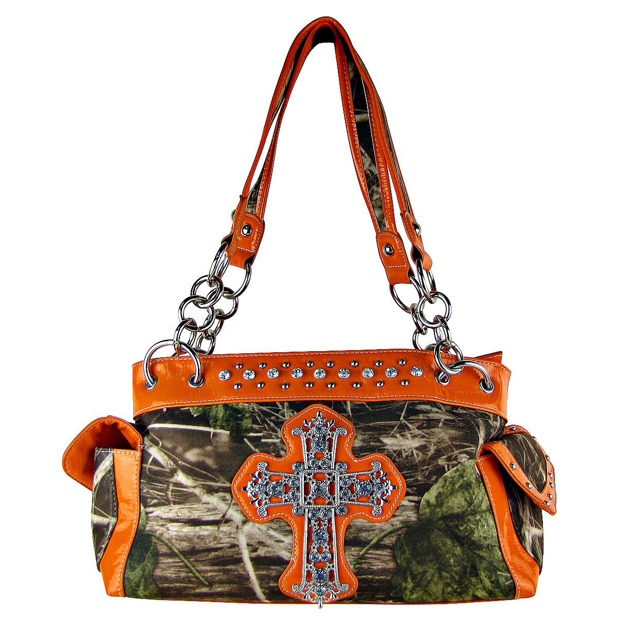 ORANGE MOSSY CAMO RHINESTONE CROSS SHOULDER HANDBAG HB1-M8811ORG