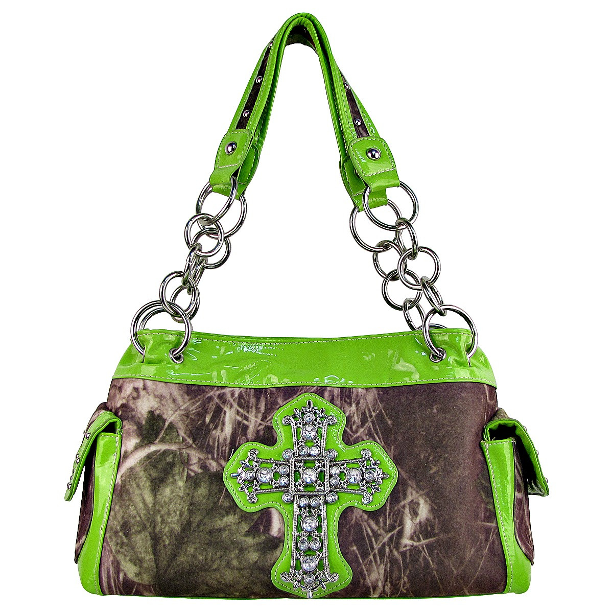 GREEN MOSSY CAMO RHINESTONE CROSS SHOULDER HANDBAG HB1-M8811GRN