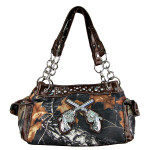 BROWN RHINESTONE MOSSY CAMO LOOK PISTOLS SHOULDER HANDBAG HB1-C-333BRN