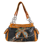 ORANGE RHINESTONE MOSSY CAMO LOOK PISTOLS SHOULDER HANDBAG HB1-AB-8374ORG