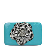 TURQUOISE LEOPARD FLOWER DISTRESSED LOOK FLAT THICK WALLET FW2-0751TRQ
