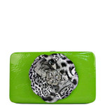 GREEN LEOPARD FLOWER DISTRESSED LOOK FLAT THICK WALLET FW2-0751GRN