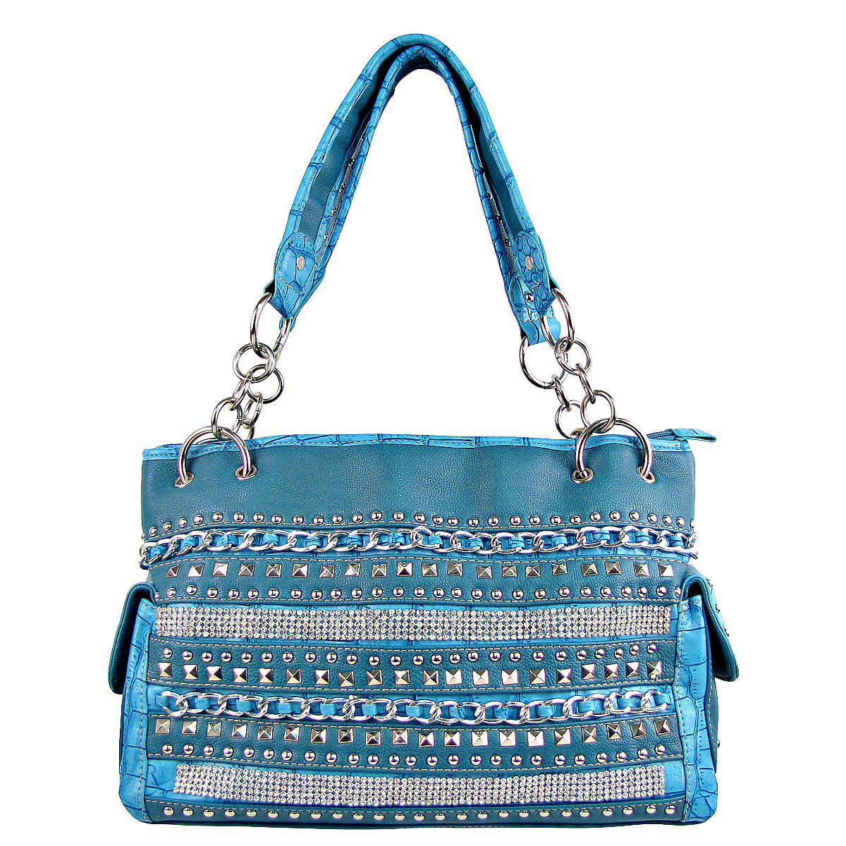 BLUE MULTI CHAIN LOOK SHOULDER HANDBAG HB1-HL1082BLU