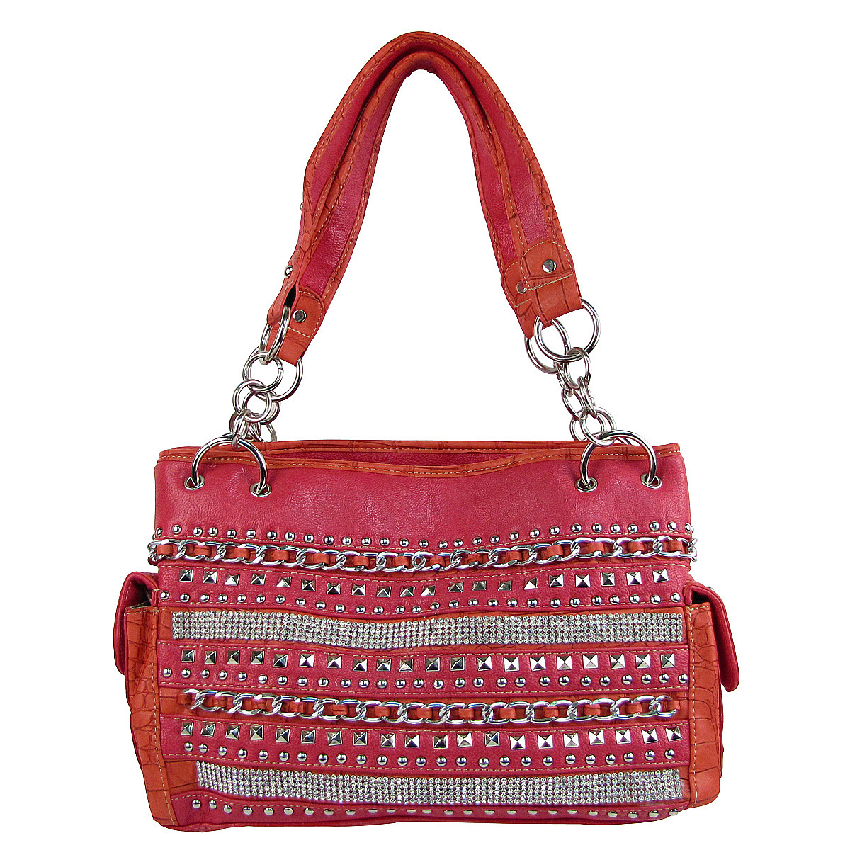 HOT PINK MULTI CHAIN LOOK SHOULDER HANDBAG HB1-HL1082PNK