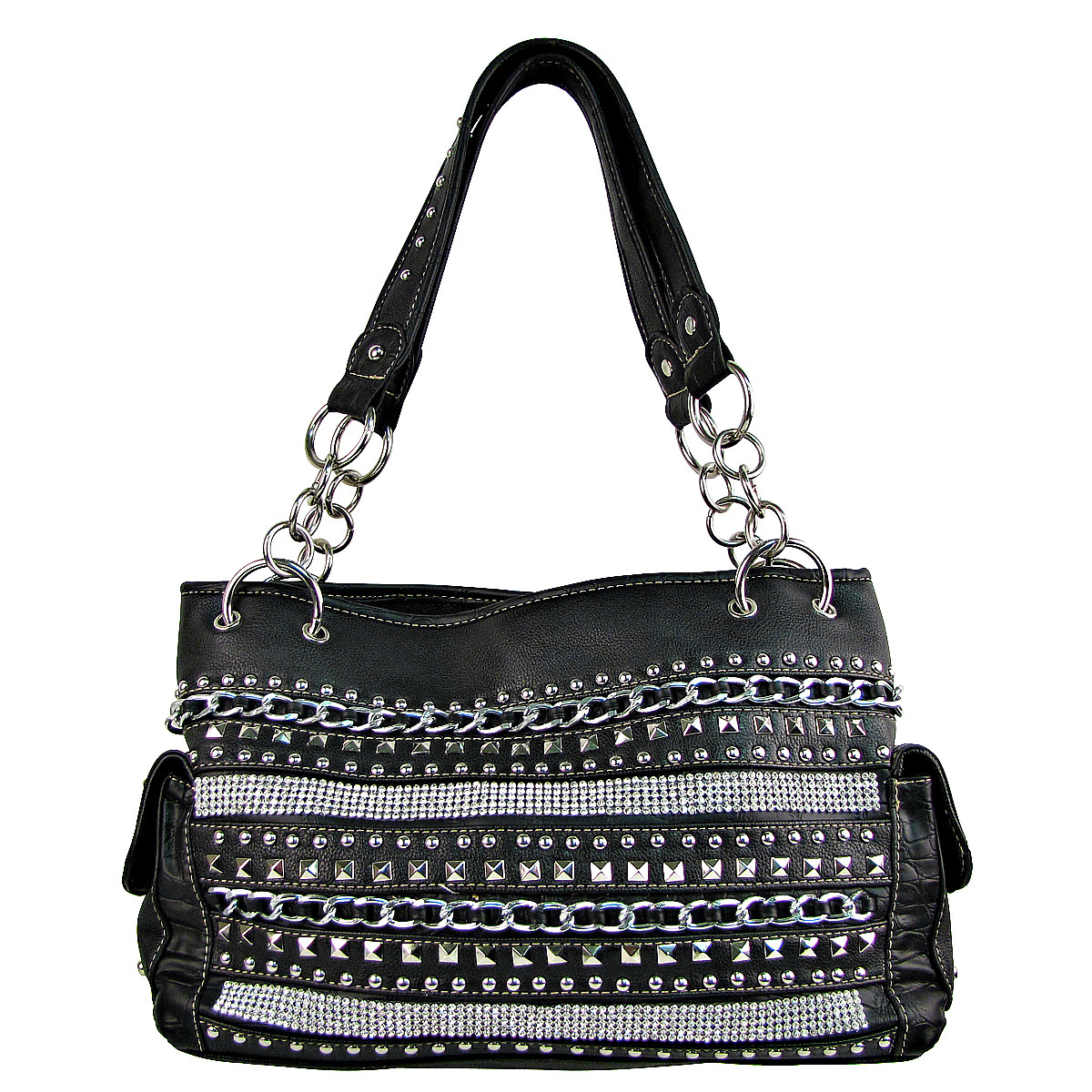BLACK MULTI CHAIN LOOK SHOULDER HANDBAG HB1-HL1082BLK