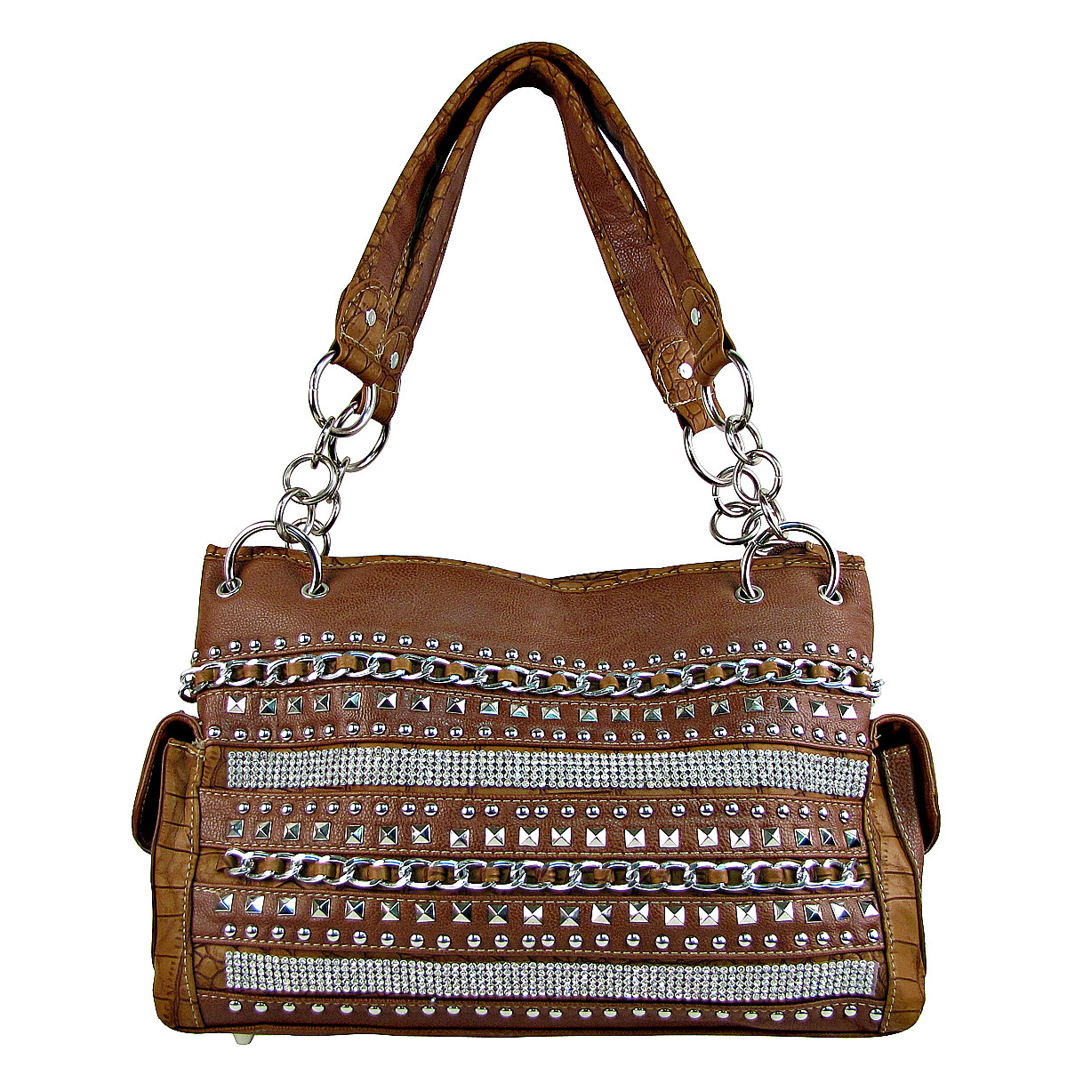 BROWN MULTI CHAIN LOOK SHOULDER HANDBAG HB1-HL1082BRN