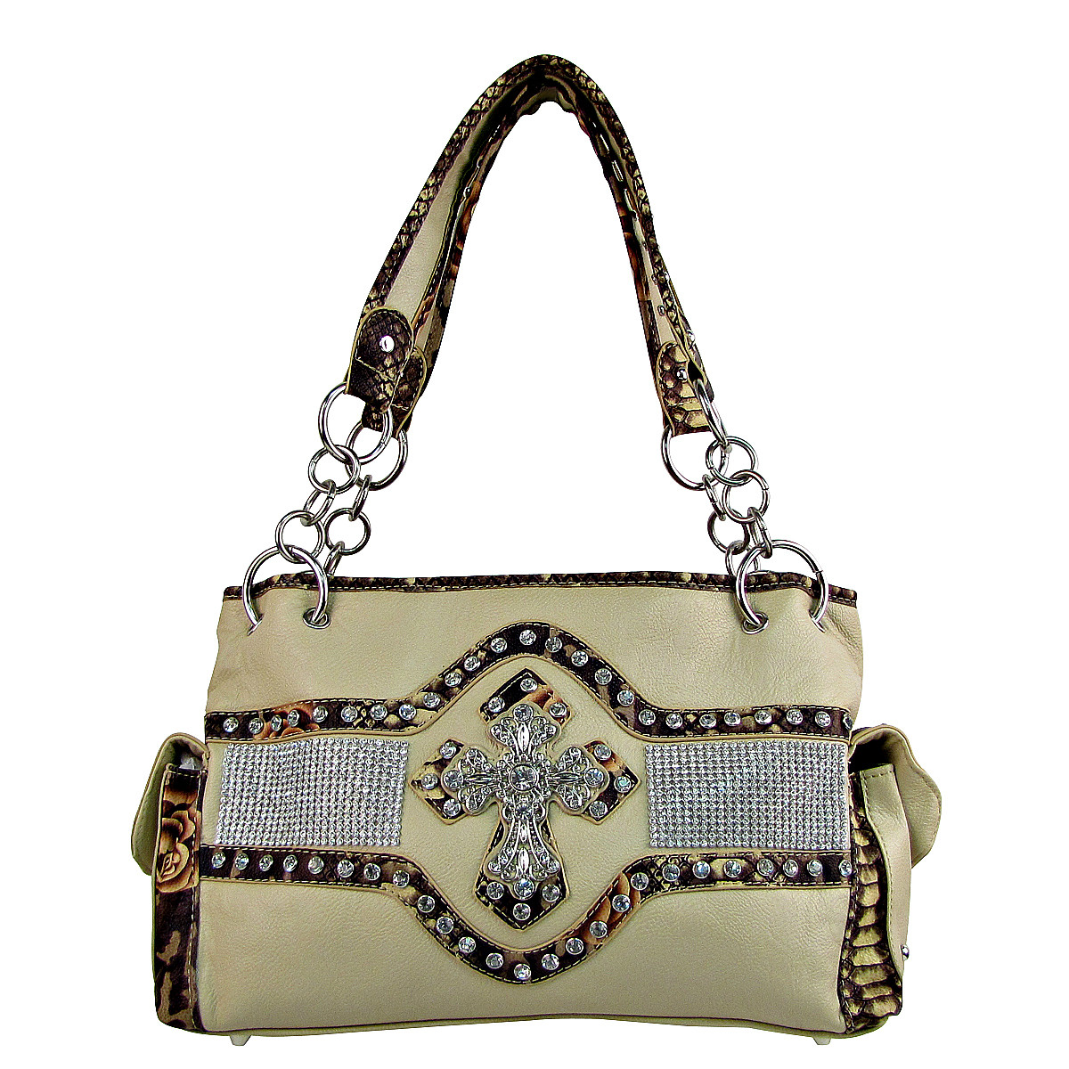 BEIGE STUDDED RHINESTONE CROSS LOOK SHOULDER HANDBAG HB1-HL1063BEI