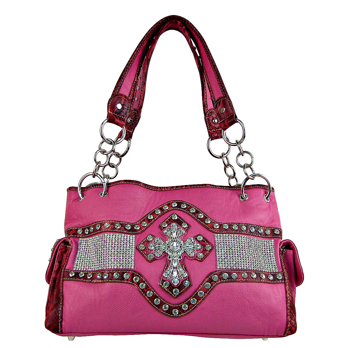 HOT PINK STUDDED RHINESTONE CROSS LOOK SHOULDER HANDBAG HB1-HL1063HPK
