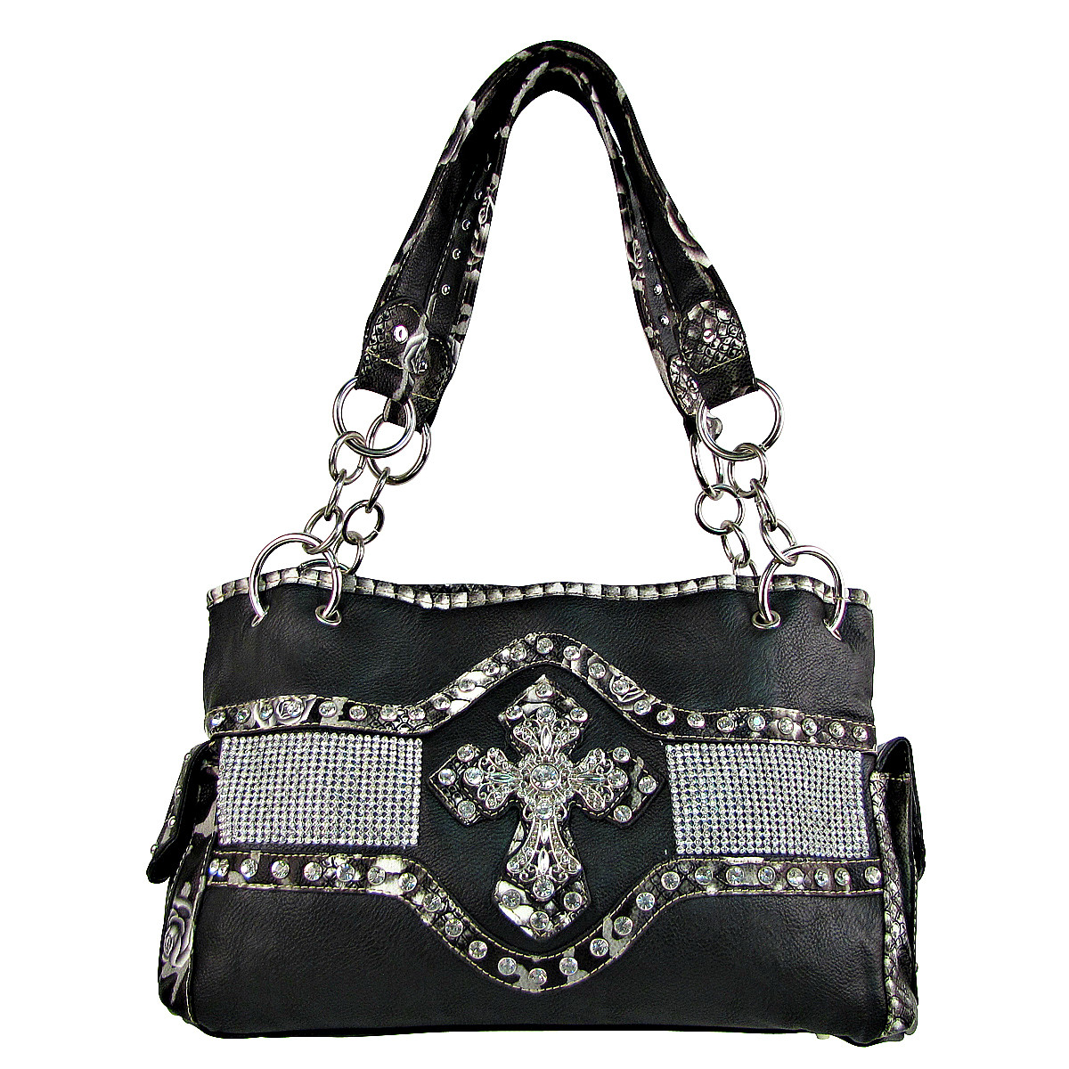 BLACK STUDDED RHINESTONE CROSS LOOK SHOULDER HANDBAG HB1-HL1063BLK