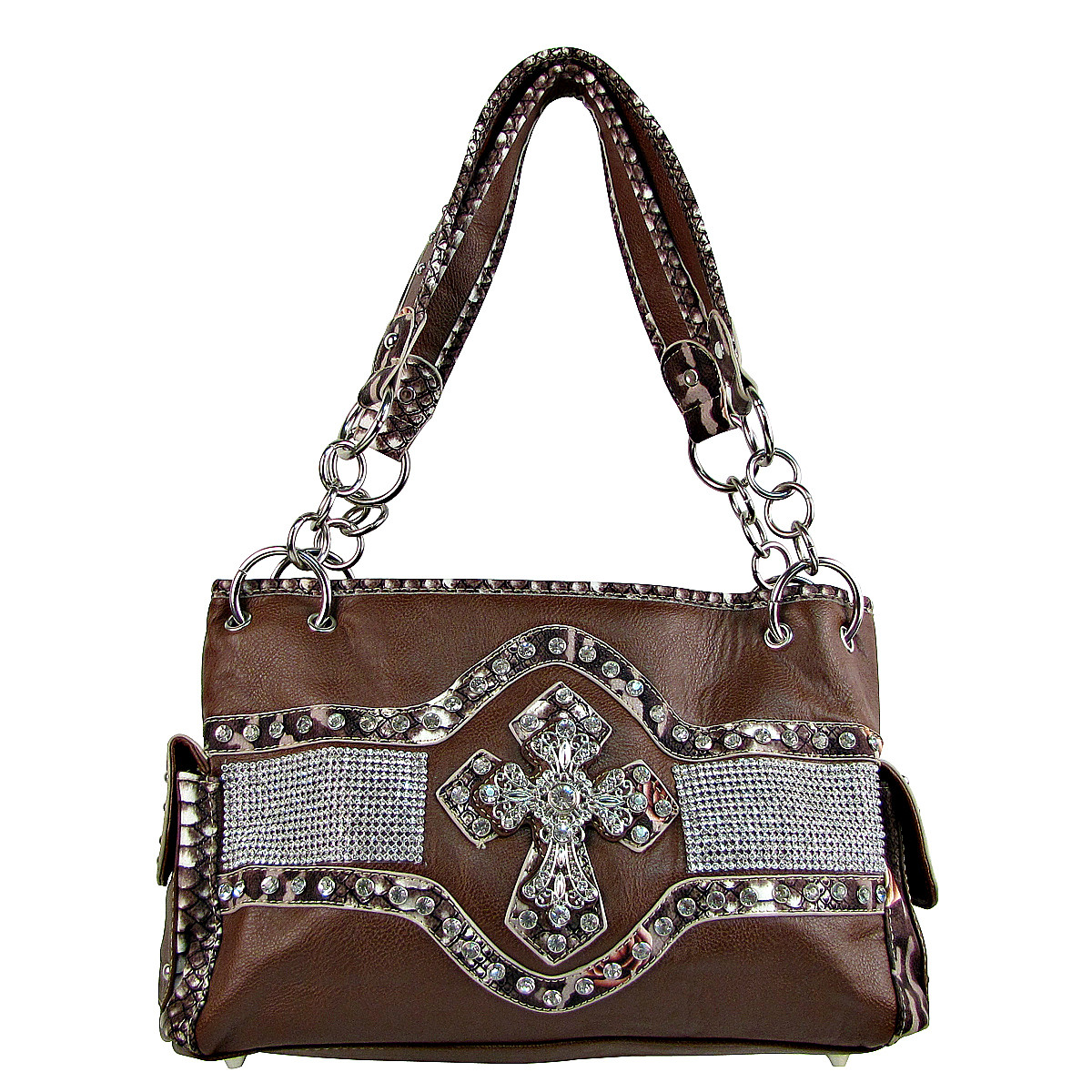BROWN STUDDED RHINESTONE CROSS LOOK SHOULDER HANDBAG HB1-HL1063BRN