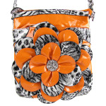 ORANGE LEOPARD FLOWER DISTRESSED LOOK MESSENGER BAG MB1-YJ2016-2ORG