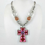 RED CROSS DESIGN LARGE PENDANT NECKLACE LOOK NK1-0403RED