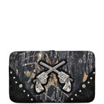 BLACK TOOLED MOSSY CAMO PISTOL LOOK FLAT THICK WALLET FW2-1203BLK