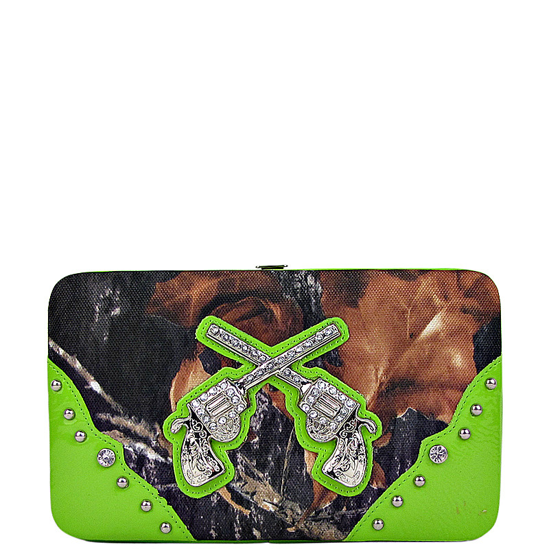 GREEN MOSSY CAMO PISTOL LOOK FLAT THICK WALLET FW2-1203GRN